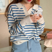 sweater Spring 2021 Average size Sky blue, navy blue Long sleeves Socket singleton  Regular wool 30% and below Half open collar Regular commute routine stripe Straight cylinder Regular wool