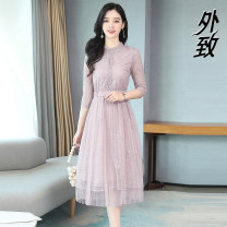 Dress Spring 2021 Lotus root color S M L XL 2XL longuette singleton  three quarter sleeve commute Crew neck middle-waisted Solid color Socket A-line skirt routine 40-49 years old External Lace 9102#wja。 ++---- More than 95% other Other 100% Pure e-commerce (online only)