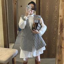 Women's large Autumn 2020 Black Vest + white skirt S M L XL Two piece set commute Long sleeves lattice routine polyester fiber routine LJMC8N6289 Luo Jingmei 18-24 years old Button longuette Polyester 70% other 30% Exclusive payment of tmall