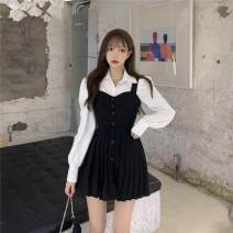 Dress Autumn 2020 Khaki black white shirt S M L average code Short skirt Two piece set Sleeveless commute One word collar High waist Solid color Socket Pleated skirt straps 18-24 years old Jinggang classic Retro More than 95% polyester fiber Polyethylene terephthalate (polyester) 100.0%