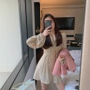 Dress Spring 2021 Picture color S M L XL Short skirt singleton  Long sleeves commute V-neck High waist Decor Socket A-line skirt pagoda sleeve 18-24 years old Type A Jinggang classic Korean version More than 95% other Other 100.0% Pure e-commerce (online only)