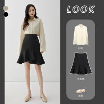 skirt Spring 2021 XS S M L XL 2XL Black apricot Middle-skirt commute High waist Ruffle Skirt Solid color 71% (inclusive) - 80% (inclusive) EUL polyester fiber Korean version Polyester 78% cotton 18% polyurethane elastic fiber (spandex) 4% Pure e-commerce (online only)