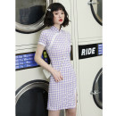 cheongsam Spring 2021 S M L XL XXL Double lace purple check short Short sleeve Short cheongsam Retro Low slit daily Oblique lapel lattice 18-25 years old Piping YQK0406 Yu Qingke other Other 100% Pure e-commerce (online only)