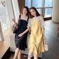 Dress Autumn 2020 yellow , black , A black T-shirt L 100 - one hundred and twenty , XL 120 - one hundred and forty , 2XL 140 - one hundred and sixty , 3XL 160 - one hundred and eighty , 4XL 180 - two hundred Mid length dress singleton  Short sleeve Other / other Button