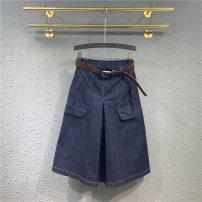 skirt Summer 2020 S M L XL XXL Blue black Mid length dress Versatile High waist A-line skirt Solid color Type A More than 95% Denim Handily other Pocket make old button zipper Other 100% Pure e-commerce (online only)