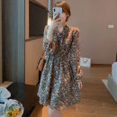 Women's large Spring 2021 Vanilla Latte pink dress S M L XL Dress singleton  commute Long sleeves Korean version V-neck Wan xianbo 18-24 years old Other 100% Pure e-commerce (online only)