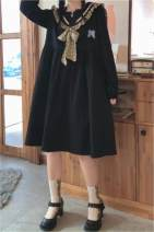 Dress Spring 2021 Black (detachable butterfly), apricot (detachable butterfly) Average size Mid length dress singleton  Long sleeves Sweet Admiral High waist Solid color Socket other routine Others 18-24 years old Type A Other Bowknot, lace up, stitching XnB4D6 More than 95% other solar system
