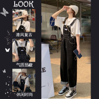 Women's large Summer 2021 trousers Two piece set commute easy Conjoined Short sleeve Shape solid letters Korean version Crew neck routine Denim cotton Hand abrasion other Sherman love 25-29 years old Other 100% Pure e-commerce (online only) trousers straps