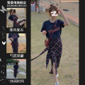 Women's large Summer 2021 One piece Navy short sleeve top one piece Navy skirt Navy short sleeve top + Two piece Tibetan blue skirt Other oversize styles Two piece set commute easy thin Socket Short sleeve Check solid thousand bird letter Korean version Crew neck routine Three dimensional cutting