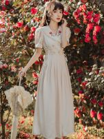 Dress Summer 2021 Apricot S,M,L,XL Mid length dress singleton  Short sleeve commute Doll Collar High waist Solid color A-line skirt bishop sleeve Type A Retro Embroidery, Auricularia auricula, lace up, stitching, buttons