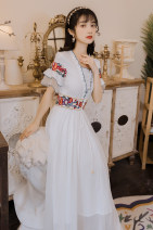 Dress Summer 2021 Picture color S,M,L,XL Mid length dress singleton  Short sleeve commute High waist Solid color zipper Big swing pagoda sleeve Type A ethnic style Ruffles, embroidery, lace, stitching