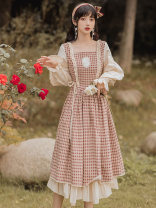 Dress Spring 2021 Picture color S,M,L longuette singleton  Long sleeves commute square neck High waist lattice zipper Type A court Auricularia auricula, lace up, stitching