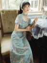 cheongsam Summer 2021 S,M,L Picture color Short sleeve long cheongsam Retro No slits Broken flowers Embroidery