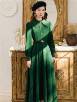 Dress Winter 2020 Dark green, black S,M,L,XL Long sleeves commute Polo collar High waist Solid color Big swing shirt sleeve Type A Retro Splicing