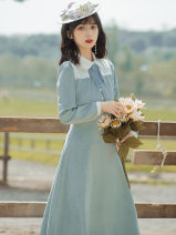 Dress Spring 2021 Picture color S,M,L,XL Mid length dress singleton  Long sleeves commute tailored collar High waist Solid color A-line skirt other Type A literature Embroidery, lace up, stitching, buttons