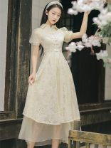Dress Summer 2021 Light apricot [two piece set] S,M,L,XL Mid length dress Two piece set Short sleeve commute High waist Solid color A-line skirt bishop sleeve Type A literature Embroidery, lace up, buttons