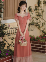Dress Summer 2021 Picture color S,M,L,XL Mid length dress singleton  Short sleeve Sweet square neck High waist Solid color zipper A-line skirt puff sleeve Type A Bow, button Chiffon Mori