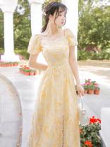 Dress Summer 2021 yellow S,M,L longuette singleton  Short sleeve commute square neck High waist Decor zipper A-line skirt puff sleeve Retro Lace