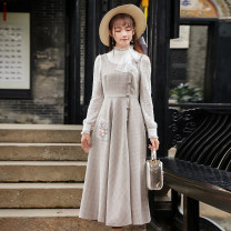Dress Winter 2021 Graph color S,M,L,XL Long sleeves commute stand collar High waist lattice zipper A-line skirt Retro