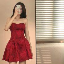 Dress Summer 2021 Red, white, black S,M,L Short skirt singleton  Decor Lace