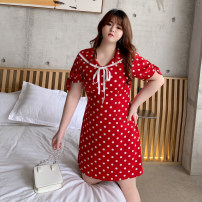 Women's large Summer 2020, spring 2020 gules Large XL, large XXL, large XXXL, large XXXXL, large L, large M (115 ~ 125 kg) Dress singleton  commute Self cultivation moderate Socket Short sleeve Dot Korean version Admiral polyester Three dimensional cutting other Q167 25-29 years old zipper other
