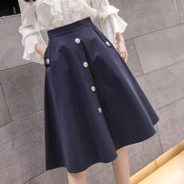 skirt Spring 2021 S,M,L,XL,2XL Apricot, Navy Mid length dress commute High waist A-line skirt Solid color Type A 18-24 years old jr 71% (inclusive) - 80% (inclusive) other Korean version
