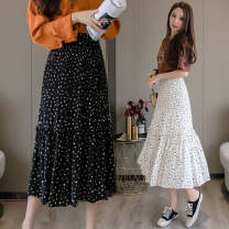 skirt Spring 2021 S,M,L Black, apricot longuette commute High waist Pleated skirt Dot Type A 18-24 years old jr 71% (inclusive) - 80% (inclusive) Chiffon polyester fiber printing Korean version