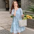 Dress Summer 2020 M L XL XXL Mid length dress singleton  Short sleeve commute Crew neck Loose waist Solid color Socket A-line skirt puff sleeve Oblique shoulder 18-24 years old Type A Korean version More than 95% other other Other 100% Pure e-commerce (online only)