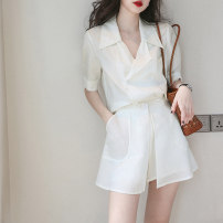 Women's large Summer 2020 White top + white skirt S M L XL Dress Two piece set commute Short sleeve Solid color Korean version routine Gu Jiafu 25-29 years old Short skirt Polyester 100% Pure e-commerce (online only)