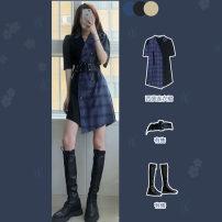 Women's large Summer 2020 S M L XL XS Dress singleton  commute Short sleeve Korean version Polo collar 31% (inclusive) - 50% (inclusive) Medium length Triacetate fiber (triacetate fiber) 100% Pure e-commerce (online only) shorts