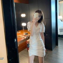 Dress Summer 2020 Show thin black temperament white S M L XL Short skirt singleton  Short sleeve commute V-neck High waist Solid color Socket A-line skirt puff sleeve Others 18-24 years old Type A Yi Caixuan Korean version tVbuFp3 More than 95% other Other 100.00% Pure e-commerce (online only)