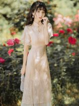 Dress Summer 2020 Apricot S,M,L Mid length dress singleton  Short sleeve commute stand collar High waist Solid color A button A-line skirt Lotus leaf sleeve Others Type A Other / other Retro Embroidery, buttons, lace 81% (inclusive) - 90% (inclusive) Lace