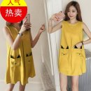 Dress Other / other yellow M,L,XL,XXL Korean version Sleeveless Medium length summer Crew neck Cotton and hemp