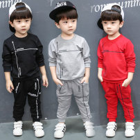 suit Yuanyuanle Grey suit, red suit, black suit, red bear suit, Navy bear suit, brother sister suit, boys' thickened brother sister suit, girls' thickened male spring and autumn leisure time Long sleeve + pants 2 pieces routine There are models in the real shooting Socket nothing Cartoon animation