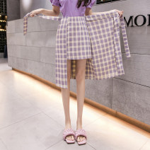 skirt Summer 2021 S M L XL 2XL Purple blue Mid length dress commute High waist A-line skirt lattice Type A 18-24 years old XML0306-Z121 More than 95% other Small power particle other Korean version Other 100% Pure e-commerce (online only)