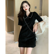 Dress Spring 2021 White black S M Short skirt singleton  Short sleeve commute V-neck High waist Solid color Socket A-line skirt routine 18-24 years old Type H Euflon Splicing 2259#wja More than 95% other Other 100% Pure e-commerce (online only)