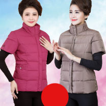 Middle aged and old women's wear Winter of 2019 XL (recommended 85-110 kg) 2XL (recommended 110-125 kg) 3XL (recommended 125-145 kg) 4XL (recommended 140-155 kg) 5XL (recommended 150-170 kg) commute Vest Self cultivation singleton  Solid color 40-49 years old Cardigan thickening stand collar routine