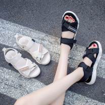 Sandals 35 36 37 38 39 40 BEIGE BLACK PU Round head Flat bottom Low heel (1-3cm) Spring 2021 Velcro Korean version Solid color Adhesive shoes Youth (18-40 years old) rubber daily Back space Low Gang Lateral space PU PU Fashion sandals Shaving Pure e-commerce (online only)