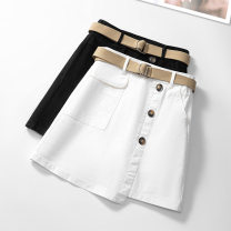 skirt Summer 2021 26/S 27/M 28/L 29/XL 30/2XL 31/3XL White black Short skirt commute High waist A-line skirt Solid color Type A 25-29 years old SYK822# More than 95% Suo Yi Ku cotton Button Korean version Cotton 98% polyurethane elastic fiber (spandex) 2% Pure e-commerce (online only)