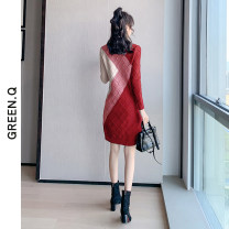 Women's large Winter 2020 Blue red L XL XXL XXXL S M Dress singleton  commute easy Socket Long sleeves Solid color Korean version Crew neck other Collage routine Green Rose 30-34 years old 96% and above Medium length Other 100% Pure e-commerce (online only) other