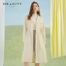 Dress Spring 2020 Angora yellow 155/80A 160/84A 165/88A 170/92A Mid length dress singleton  Long sleeves street tailored collar Elastic waist Solid color Single breasted other routine 25-29 years old Type X Me&City 544729-165266 More than 95% other cotton Cotton 100% Sports & Leisure