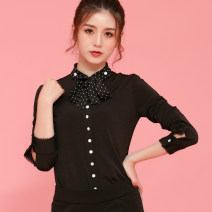 shirt black Spring 2021 cotton 91% (inclusive) - 95% (inclusive) Long sleeves commute Regular stand collar Single row multi button routine Solid color 30-34 years old Self cultivation Manetti Ol style Lace up button Cotton 91.8% other 8.2% Pure e-commerce (online only) Brocade cotton