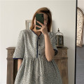 Dress Autumn 2020 Blue, orange M, L longuette singleton  elbow sleeve commute V-neck lattice other other routine Others 18-24 years old Little blue boy Korean version More than 95% other cotton