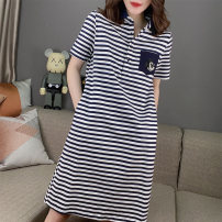 Dress Summer 2020 Color matching S M L XL Mid length dress singleton  Short sleeve commute Polo collar High waist stripe Socket routine Others 30-34 years old Concubine Korean version BB202v10921p0101 81% (inclusive) - 90% (inclusive) polyester fiber Polyester 85% polyamide 15%