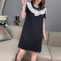 Dress Summer 2020 black S M L XL Mid length dress singleton  Short sleeve commute Crew neck High waist Solid color routine Others 30-34 years old Concubine Korean version 81% (inclusive) - 90% (inclusive) polyester fiber Polyester 85% polyamide 15% Pure e-commerce (online only)