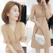 Dress Summer 2020 S M L XL Mid length dress singleton  Short sleeve commute V-neck High waist Solid color other routine Others 30-34 years old Concubine Korean version 81% (inclusive) - 90% (inclusive) polyester fiber Polyester 85% polyamide 15% Pure e-commerce (online only)