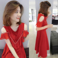 Dress Summer 2020 Red and black S M L XL Mid length dress singleton  Short sleeve commute V-neck High waist Solid color Socket A-line skirt routine Others 30-34 years old Type A Concubine Korean version B182k01301p0140 81% (inclusive) - 90% (inclusive) polyester fiber Polyester 85% polyamide 15%