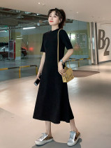 Dress Spring 2021 Black grey long black long S M L XL 2XL Mid length dress singleton  Short sleeve commute Crew neck High waist Solid color Socket A-line skirt routine 25-29 years old Type X TKTO Korean version TK160588 More than 95% other Other 100%