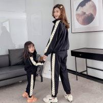 Parent child fashion black Women's dress female Listening ceremony GGXL2206 spring and autumn motion routine Solid color suit cotton L,M,S,XS GGXL2206 Cotton 100% Class B 2, 3, 4, 5, 6, 7, 8, 9, 10, 11 Chinese Mainland