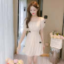 Dress Summer 2021 Apricot S,M,L,XL Middle-skirt singleton  Short sleeve commute square neck High waist Solid color Socket A-line skirt puff sleeve Others Type A Korean version Pleating, open back, pleating, splicing, three-dimensional decoration, gauze net 81% (inclusive) - 90% (inclusive) Chiffon